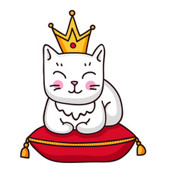 Cute white cat with crown on a red royal pillow vector