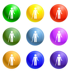 Disability person and healthy kid icons set vector