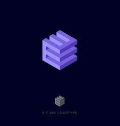 E cube violet logo building logo e monogram vector