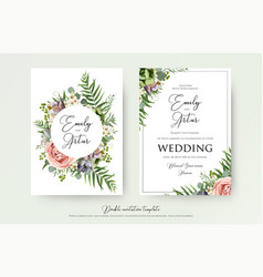 Elegant floral wedding invitation card design vector