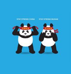 Encouraging pandas with headbands vector