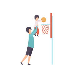 father and son playing basketball dad holding his vector image