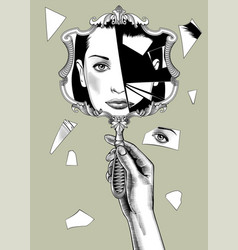 female hand holding a broken retro mirror with a vector image