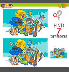 find differences with fish animal characters vector image