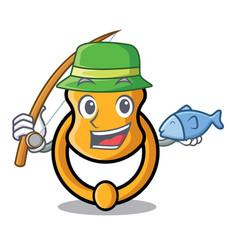 Fishing elegant fashion door knocker mascot vector