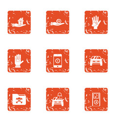 Foreman icons set grunge style vector