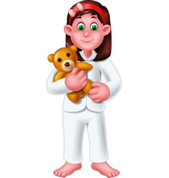 Funny girl wearing white pajama with brown doll vector