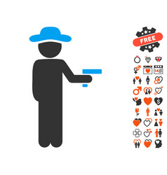 Gentleman robber icon with lovely bonus vector