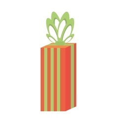 Gift box large stripes green bow festivity vector