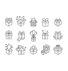 gift boxes icons birthday present box with ribbon vector image
