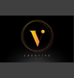 Gold artistic v letter logo design with creative vector