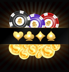 Gold coins and casino chips vector