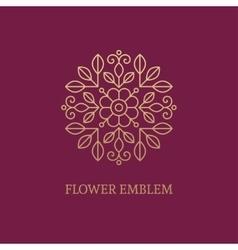 Golden floral emblem vector image