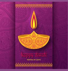 Greeting card for diwali festival celebration in vector
