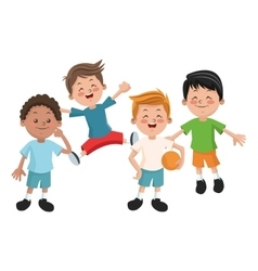 Group of happy boys cartoon kids vector