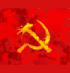 Grunge hammer and sickle symbol communism on vector