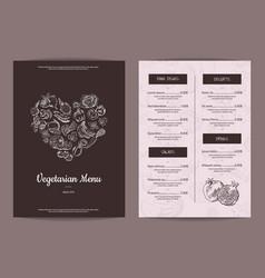 handdrawn heart shaped fruits and vector image