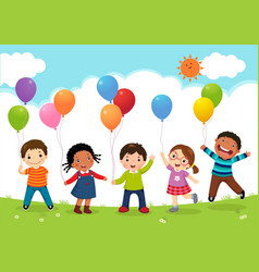 Happy kids jumping together and holding balloons vector
