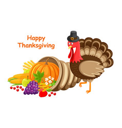 Happy thanksgiving day poster text turkey vector