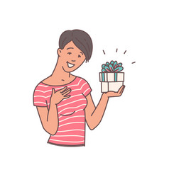 Happy woman holding gift box with surprised and vector