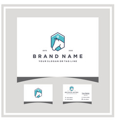 Horse house logo design and business card vector
