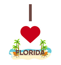 I love florida usa travel palm summer lounge vector