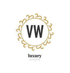 Initial letter vw luxury creative design logo vector
