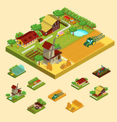 isometric agricultural concept vector image