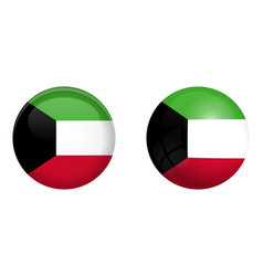 kuwaiti flag under 3d dome button and on glossy vector image