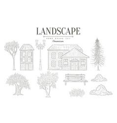 Landscape vintage sketch vector