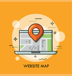 Laptop and location mark concept of global vector