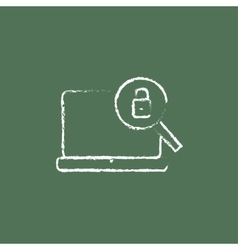 Laptop and magnifying glass icon drawn in chalk vector image