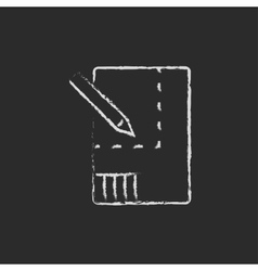 Layout of the house icon drawn in chalk vector image