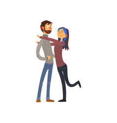loving young couple hugging and happy together vector image