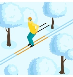 Man On Ski Isometric vector