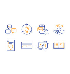 Messenger mail idea and ab testing icons set vector