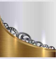 metall background with gears vector image