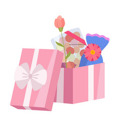 opened pink gift box with candies and flowers vector image
