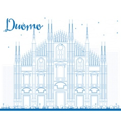 Outline Duomo in Blue Color Milan Italy vector