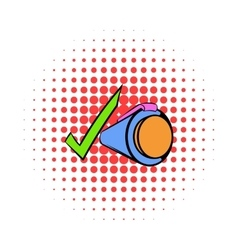 Pen and green checkmark icon comics style vector image