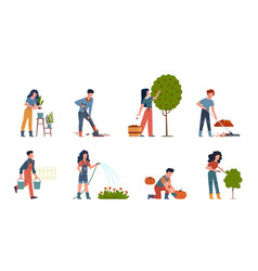 People gardening characters doing farming job vector