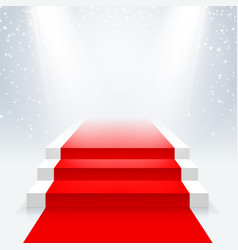 podium with a red carpet in the illumination of vector image