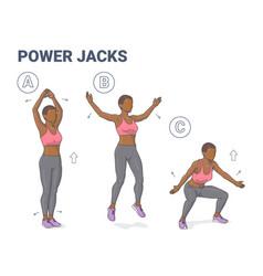 power jacks exercise black girl home workout vector image