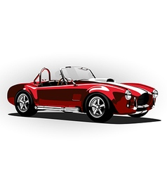 Red classic sport car cobra roadster vector