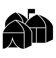 refugee tent city icon simple style vector image
