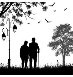 retired elderly couple walking in park vector image