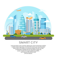 Round style urban landscape with buildings vector