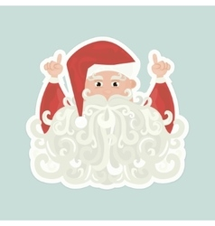 Santa Claus with curly beard pointing up isolated vector