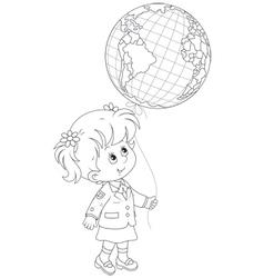 Schoolgirl holds a globe - balloon vector