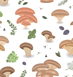 Seamless texture with Edible mushroom oysters and vector image vector image